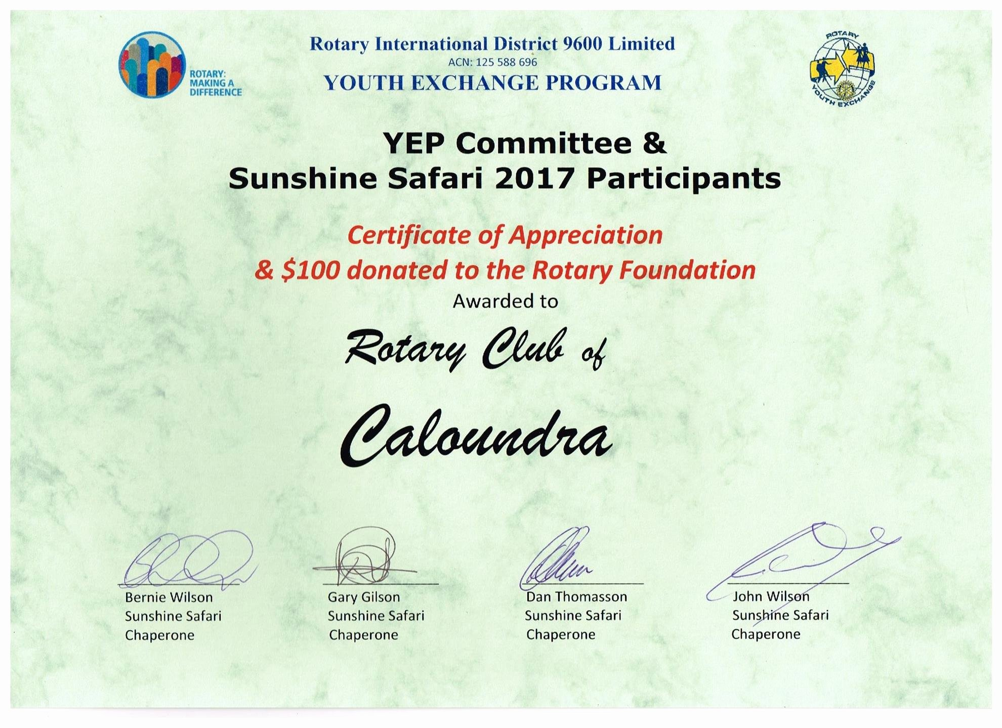 Thank You From Rotary Youth Exchange