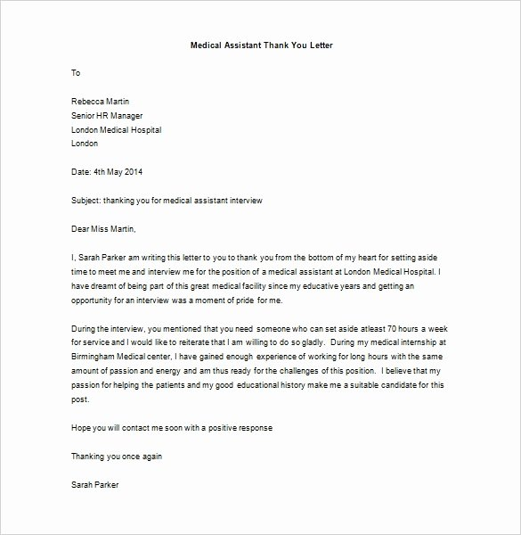 Thank You Letter after Interview for Medical assistant