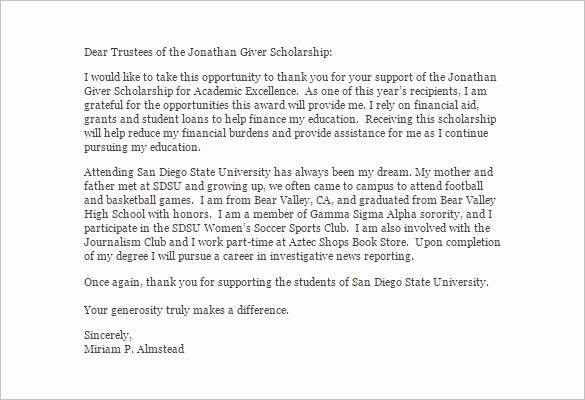 Thank You Letter for Financial Aid Letter Template
