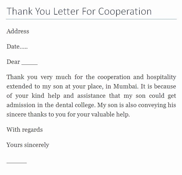 Thank You Letter for Hospitality Extended