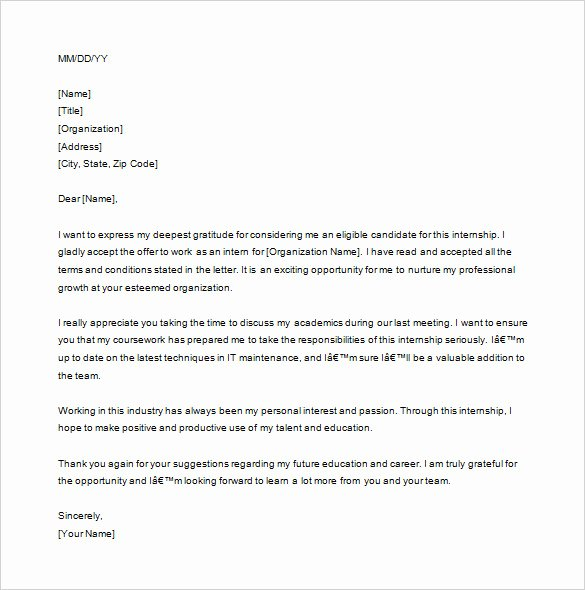 Thank You Letter for Internship Interview Internship