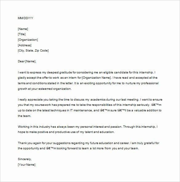 Thank You Letter for Internship Interview Internship