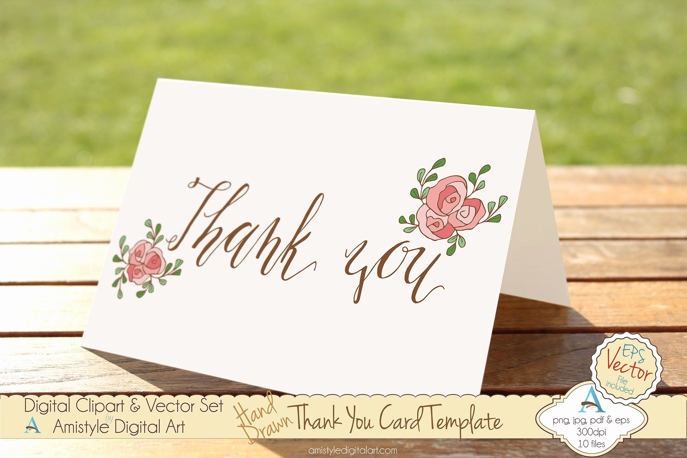 Thank You Pink Rose Card Template Card Templates