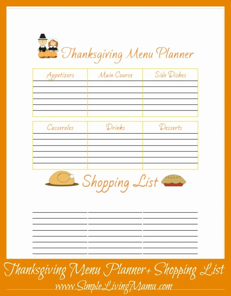 Thanksgiving Dinner List Templates – Happy Easter