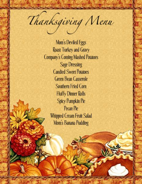 thanksgiving dinner menu planner template
