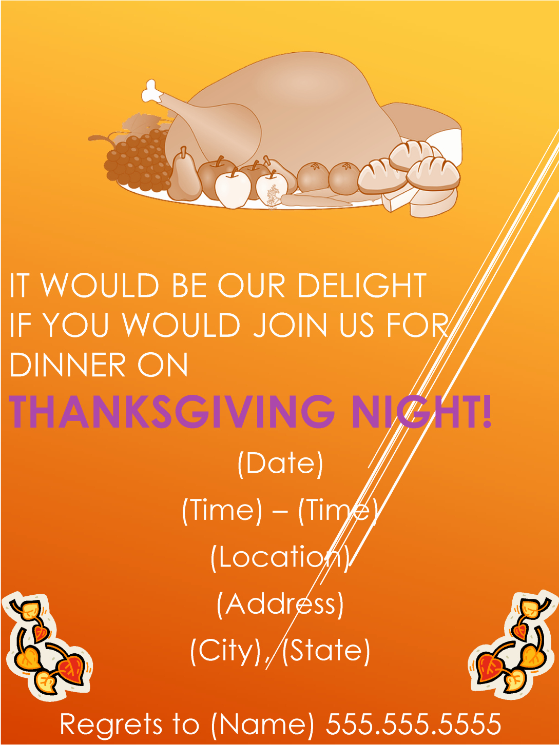 Thanksgiving Dinner Party Invitation Template