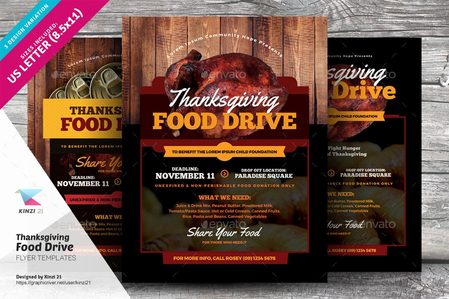 Thanksgiving Food Drive Flyer Templates by Kinzi21