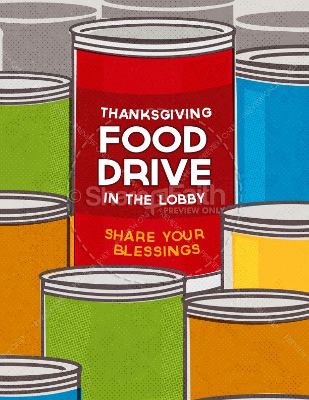Thanksgiving Food Drive Religious Flyer Template