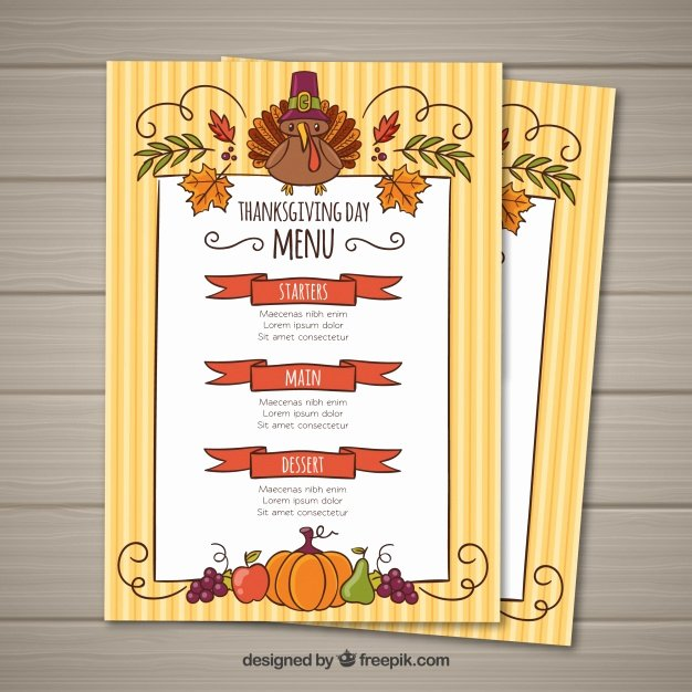 Thanksgiving Menu Template Vector