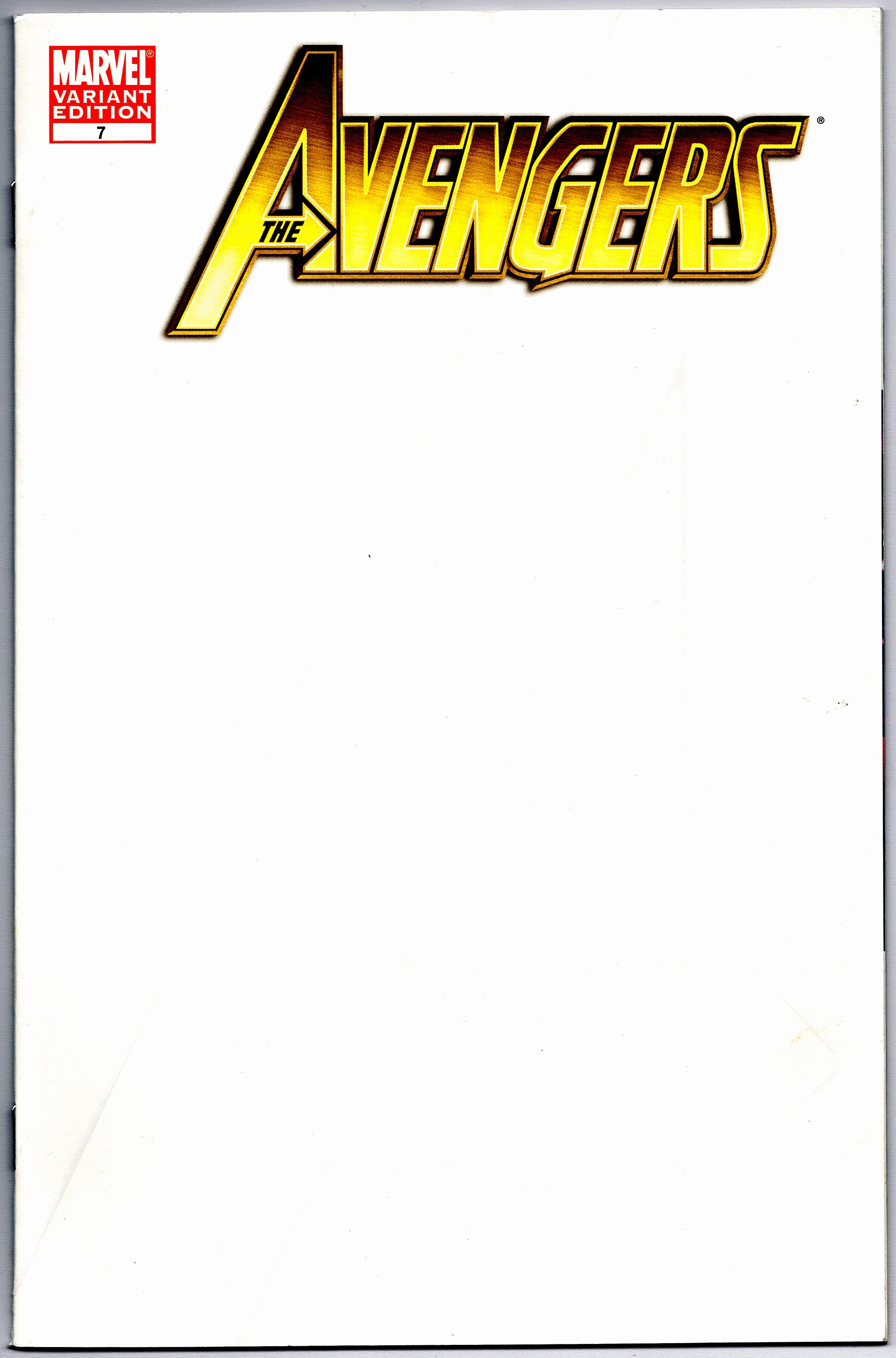 The Avengers 7 Blank Sketch Cover Variant First Print