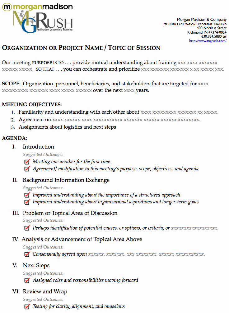 The Best E Page Agenda Template for A E Hour Meeting