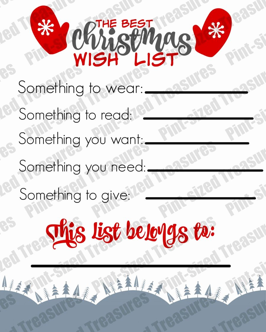 The Best Printable Christmas Wish List for Kids · Pint