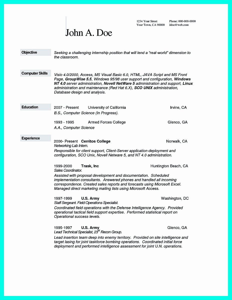 The Best Puter Science Resume Sample Collection