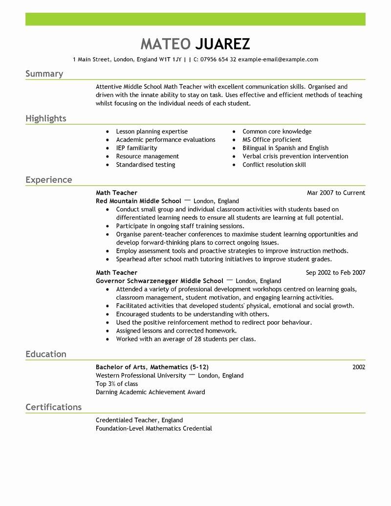 The Best Resume format for Teachers 2017