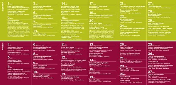 The Colburn School event Calendar Template On Behance