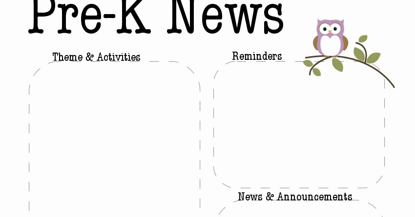 The Crafty Teacher Pre K Owl Newsletter Template