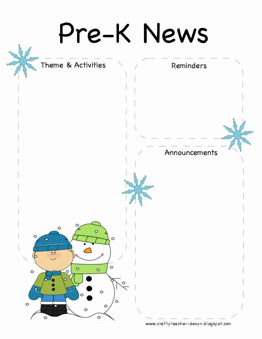 The Crafty Teacher Pre K Winter Newsletter Template