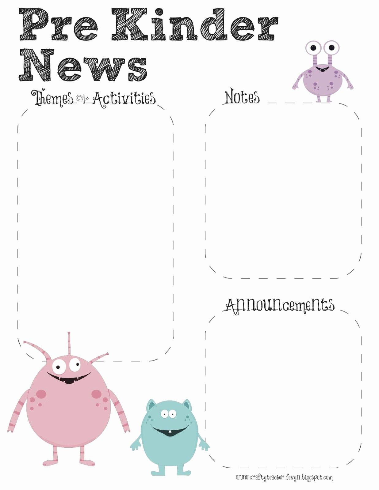 prek monster theme newsletter template
