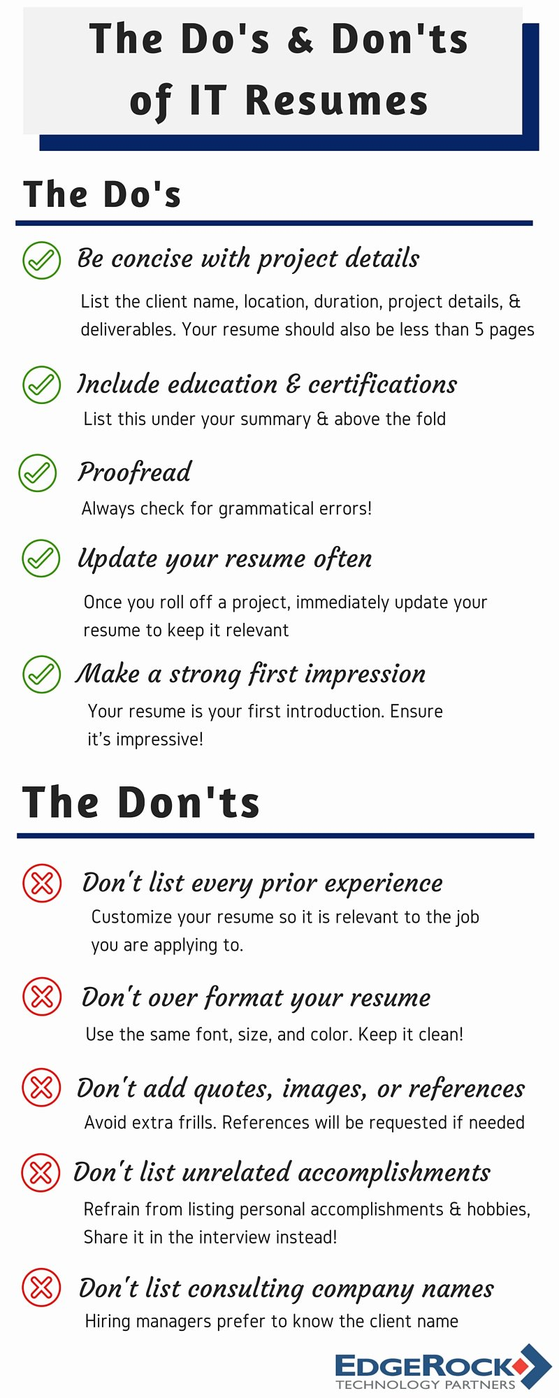 The Do's and Don'ts Of It Resumes