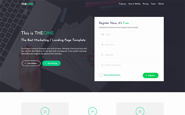 The E Landing Page Template
