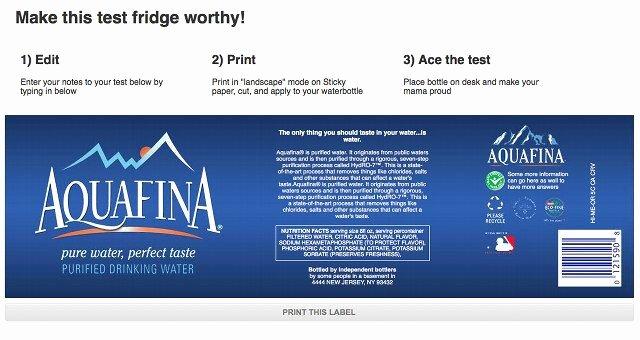 The Editable Print A Cheat Sheet An Aquafina Bottle
