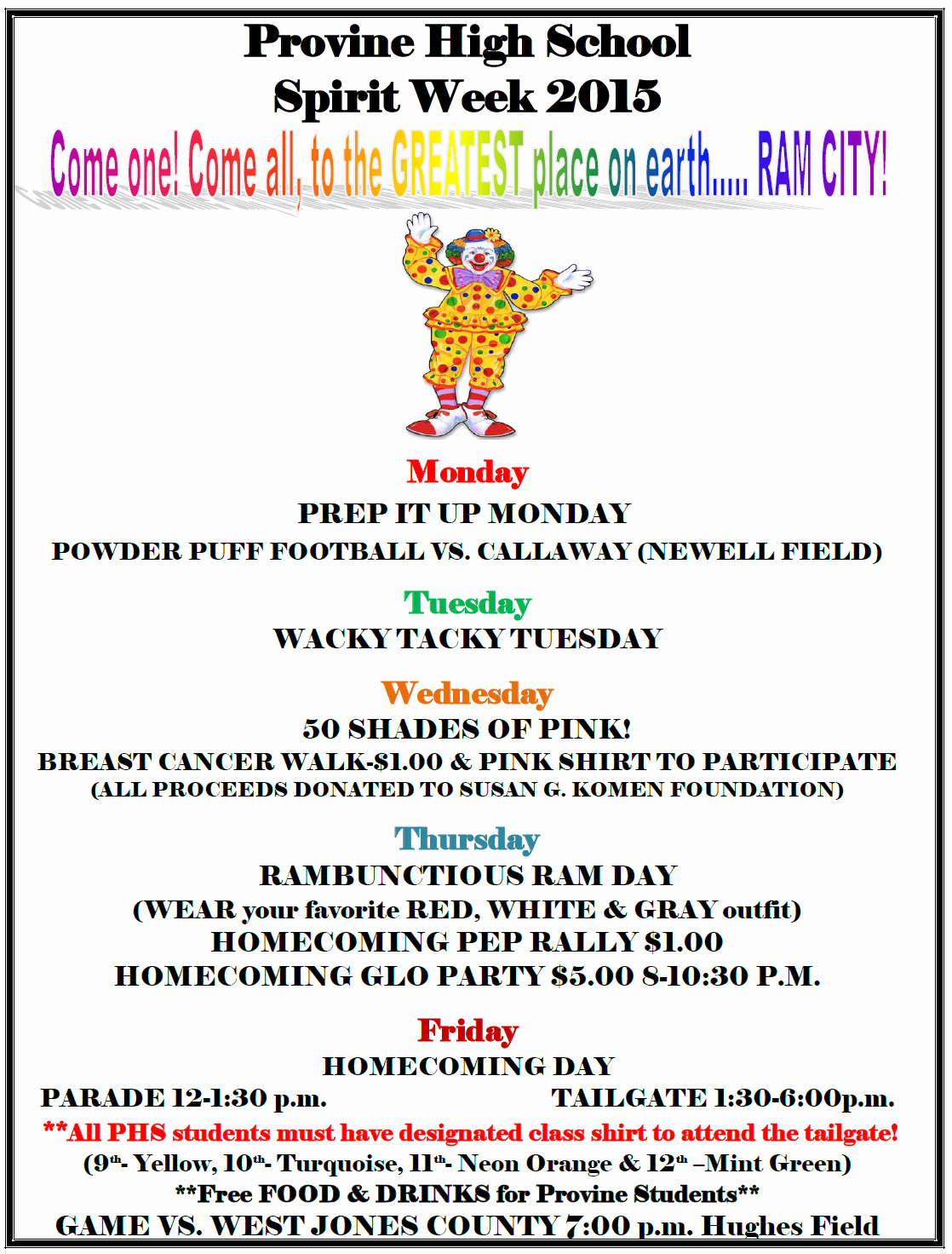 The Gallery for School Spirit Week Flyer