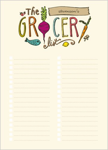 The Grocery List 5x7 Notepad Custom Notepads