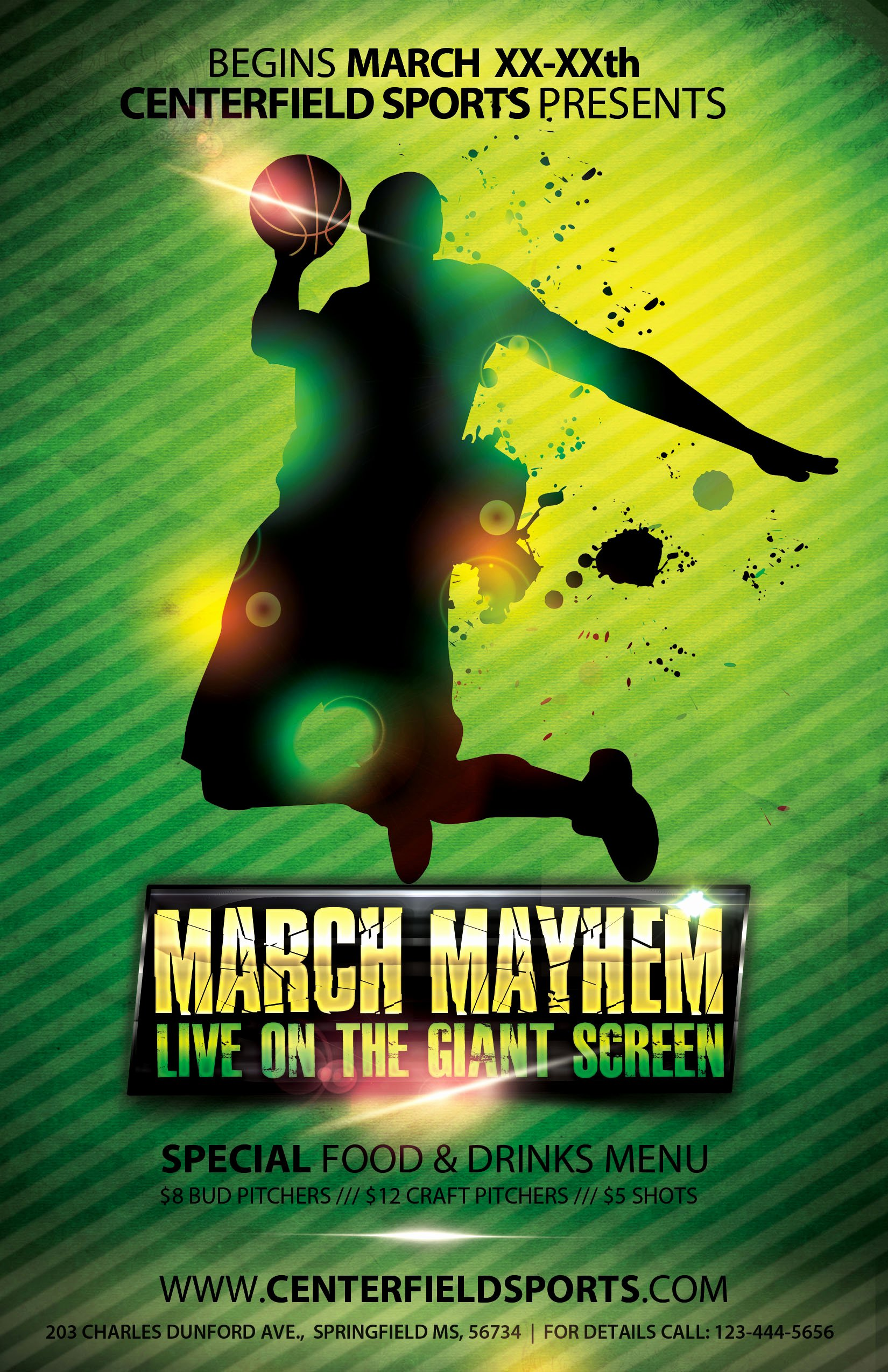 The Madness Begins Free 5 Basketball Flyers In Psd for