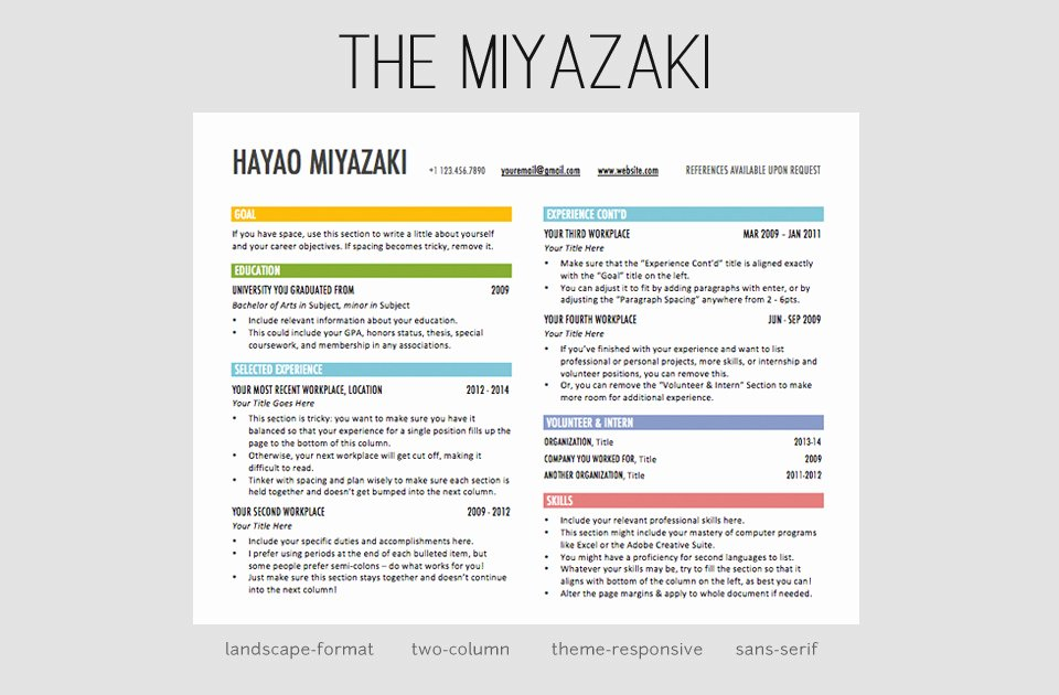 The Miyazaki Resume Template