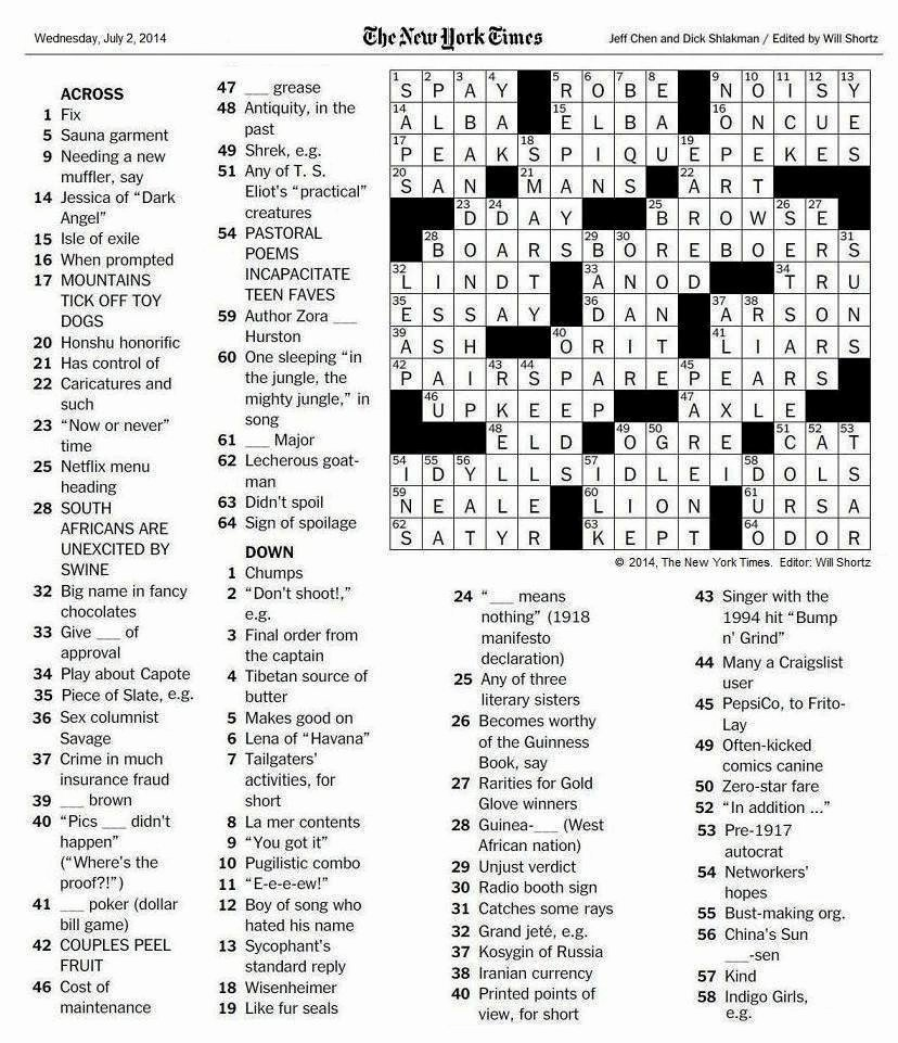 The New York Times Crossword In Gothic 07 02 14 — sounds