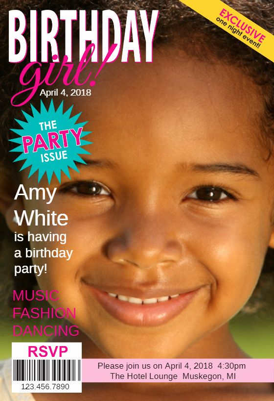 The Party issue Magazine Cover Free Birthday Invitation