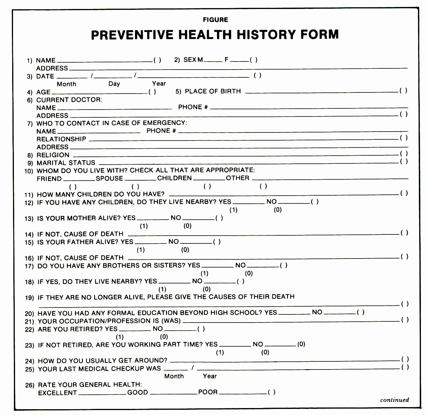 The Preventive Health History form A Questionnaire for