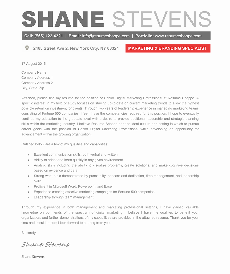 The Shane Cover Letter Creative Resume Template
