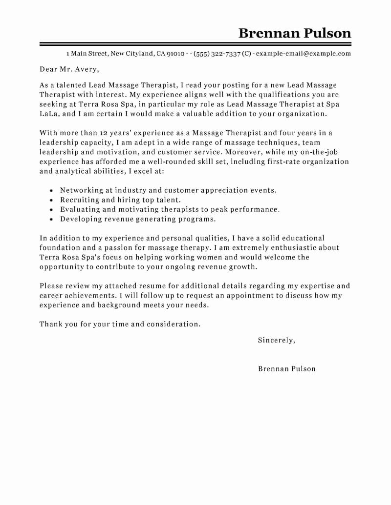 Therapist Cover Letter Best Lead Massage therapist Cover