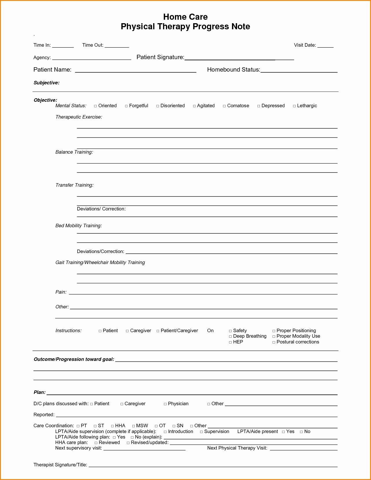 Therapy Progress Note Template 2018