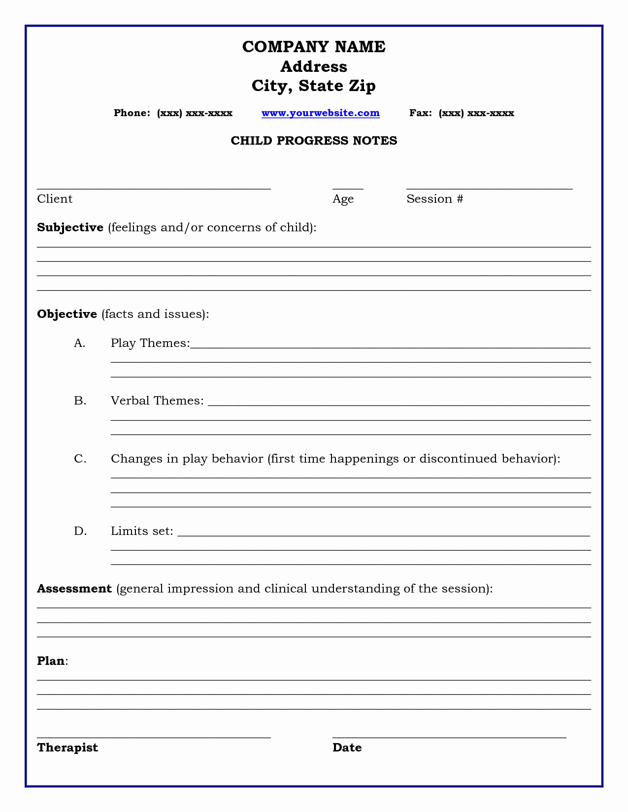 Therapy Progress Note Template