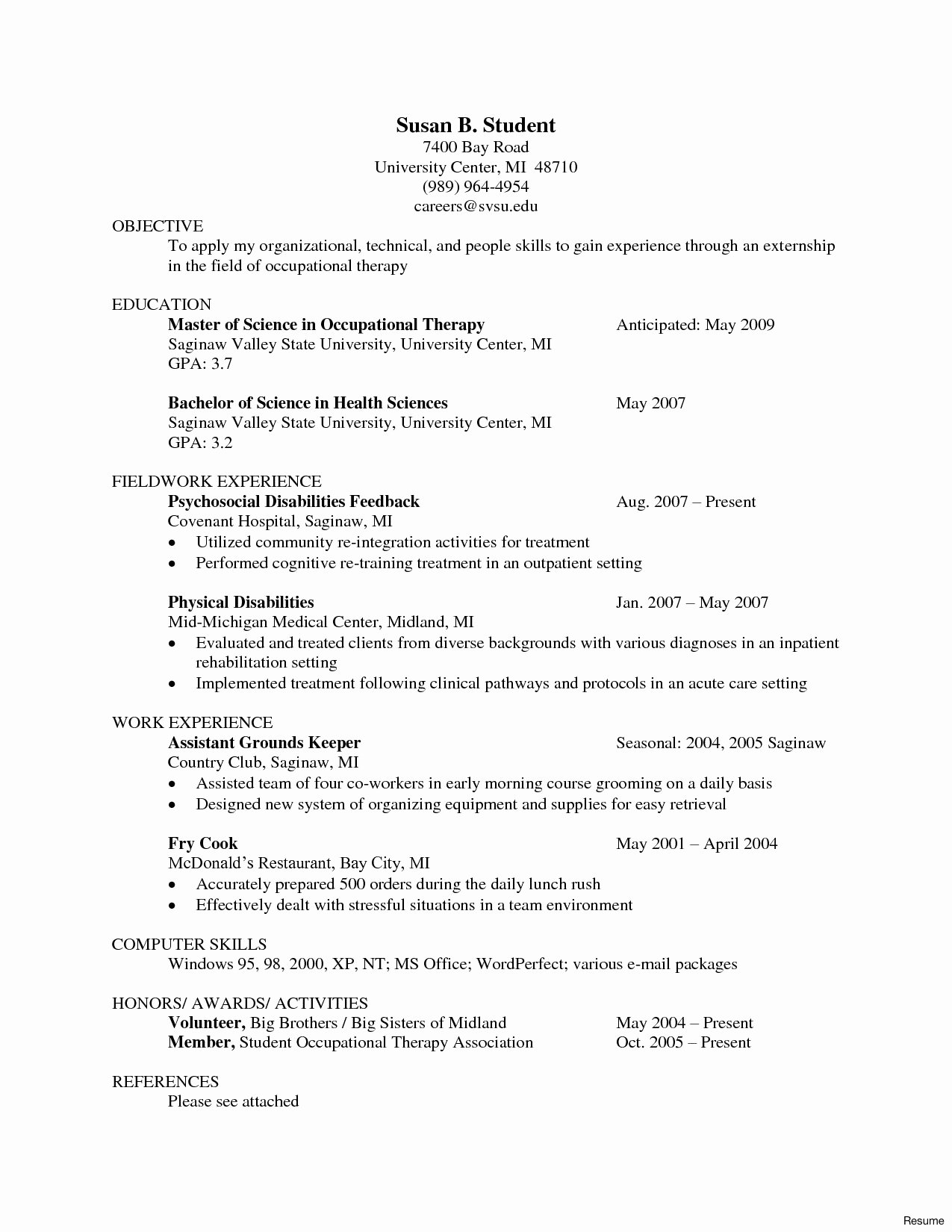 Therapy Resumes Occupational therapy assistant Resume Sles