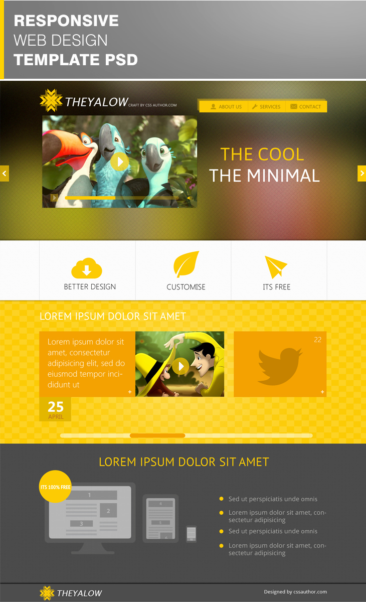 Theyalow Responsive Web Design Template Psd Download Psd