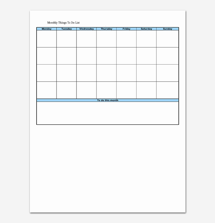 Things to Do List Template 20 Printable Checklists