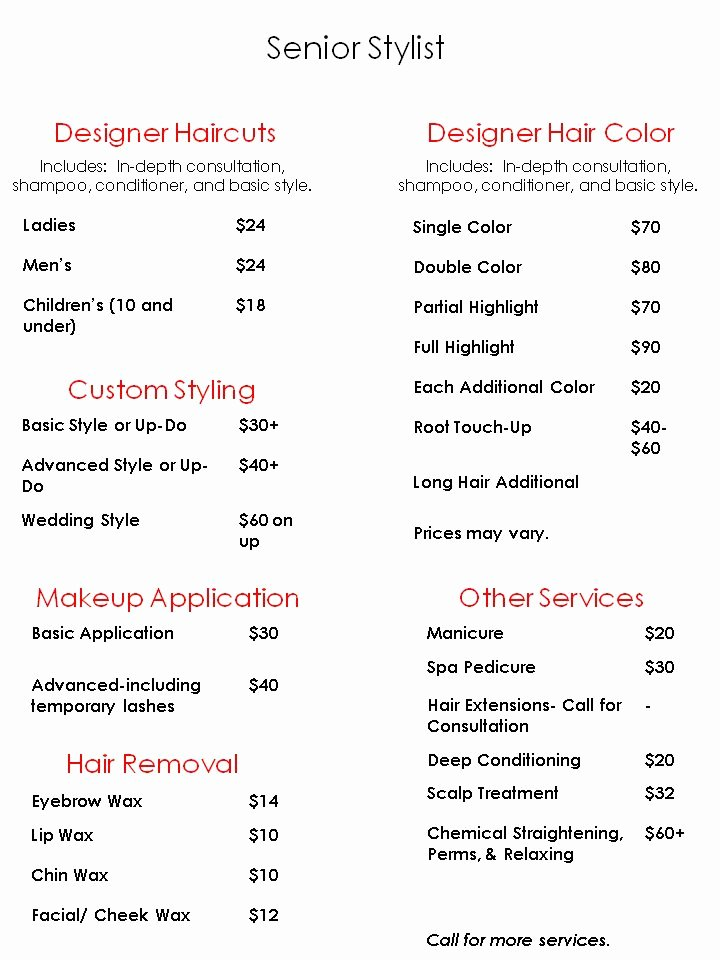 Nail Salon Price List Template | Latter Example Template