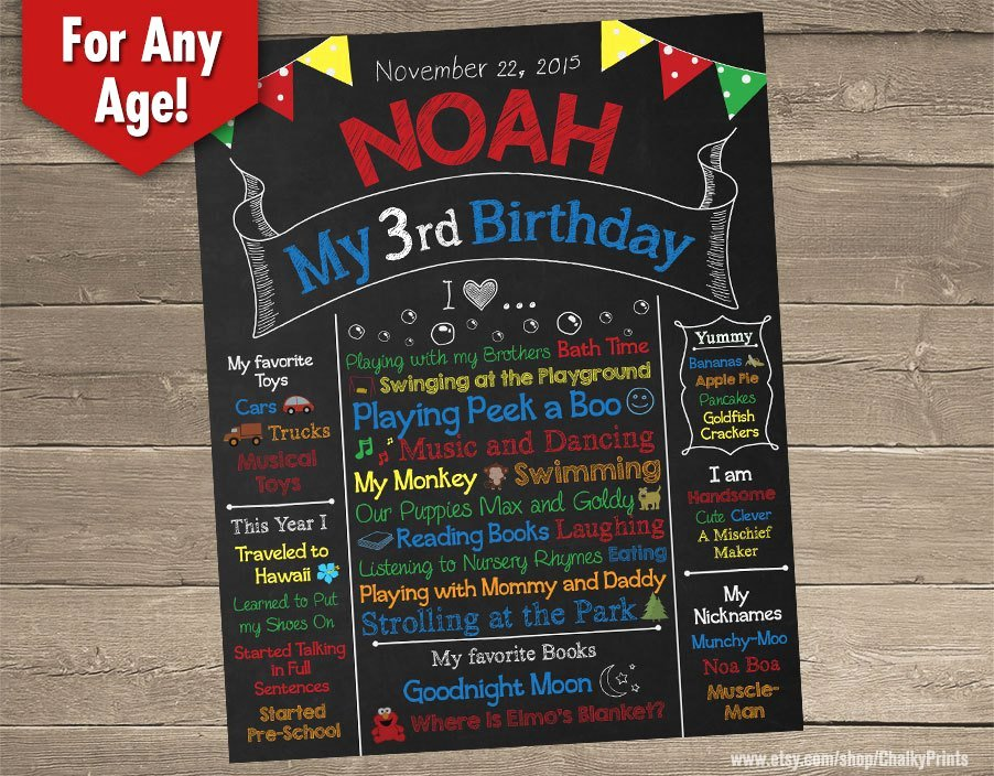 Third Birthday Chalkboard 3rd Birthday Chalkboard Birthday