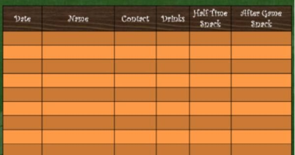This is A Template to Use for soccer Snack Scheduling the