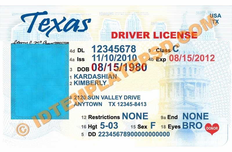This is Texas Usa State Drivers License Psd Shop