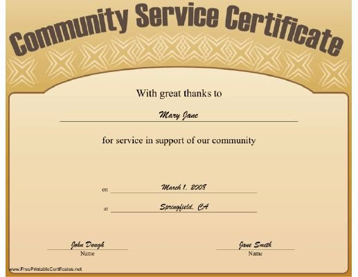 This Munity Service Certificate Expresses Great Thanks