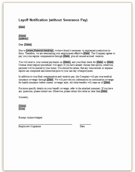 This Sample Letter Provides Notice to Employees that