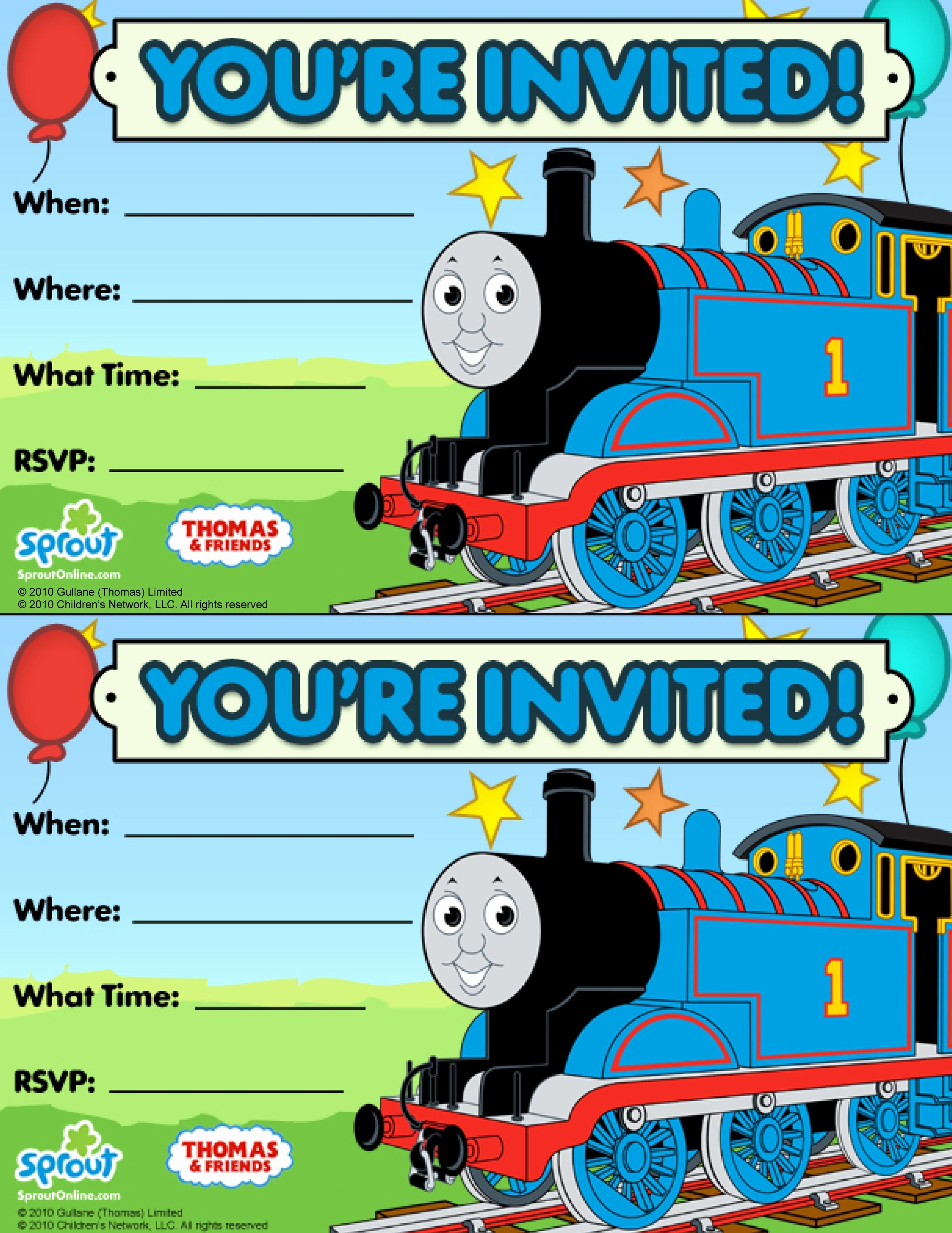 Thomas & Friends Party Invitation Free
