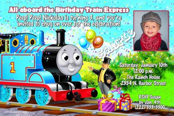 Thomas the Tank Engine Birthday Invitations Confetti