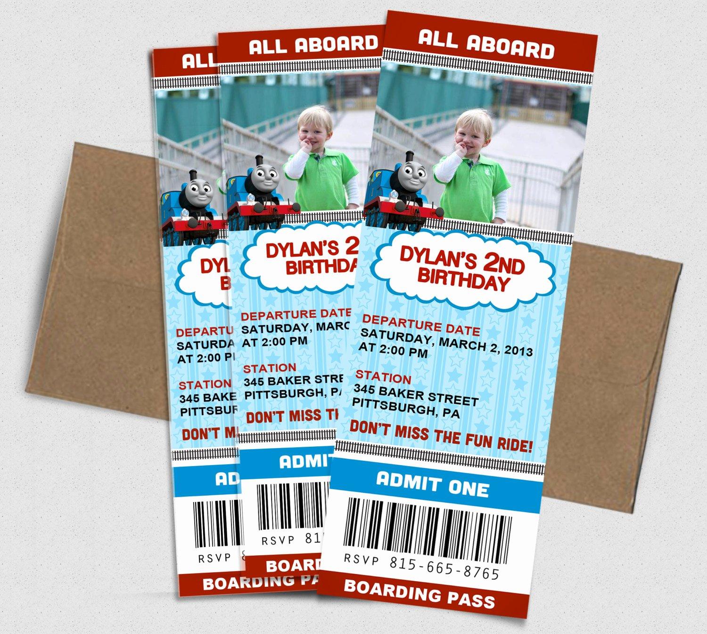 Thomas the Train Birthday Ticket Invitation by Adorepaperco