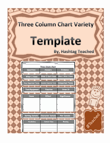Three Column Chart Template Variety Of Headings by