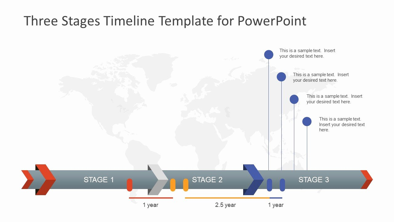 Three Stages Timeline Template for Powerpoint Slidemodel
